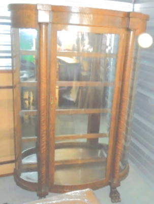 CLAW FOOTED CURVED GLASS CHINA CABINET