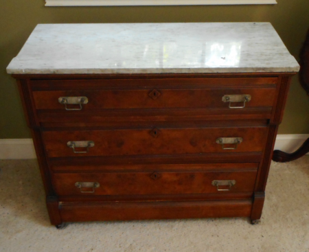 MARBLE TOP WALNUT CHEST