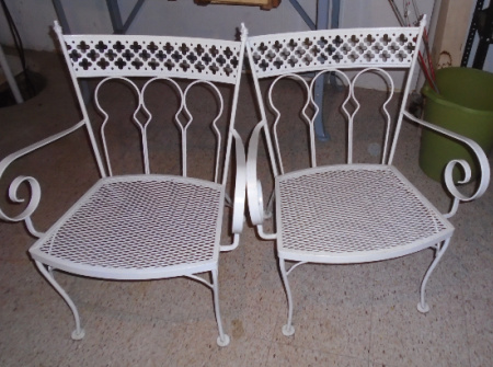 SET OF 4 WROUGHT IRON CHAIRS