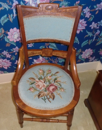 WALNUT NEEDLEPOINT CHAIR
